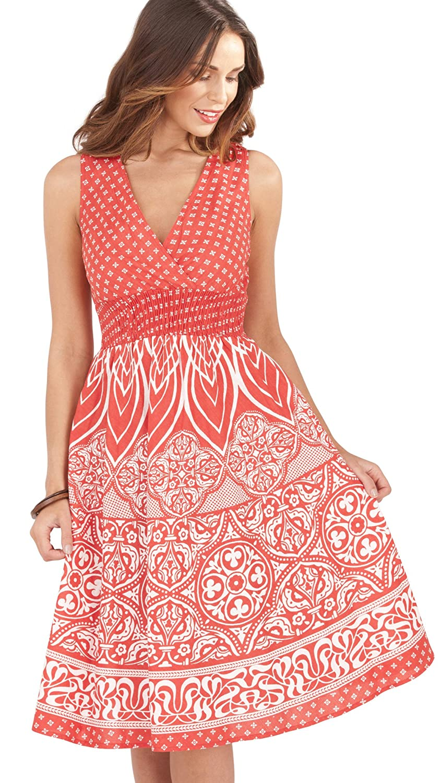 1191d5512d1 Ladies 100% Cotton Mixed Floral Print Built Up Shoulder Mid Length Summer  Dress with Crossover V Neck