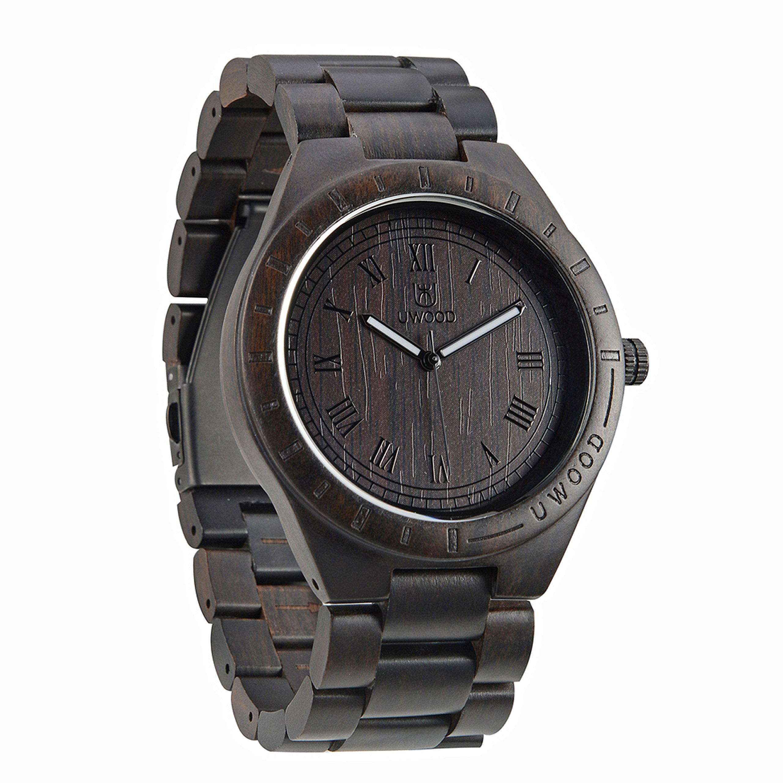 Hot Sell Men Dress Watch Quartz NEW BETTER Men`s Wooden Watch Wood Wrist Watches Natural Gift Relogio (Black sandalwood)