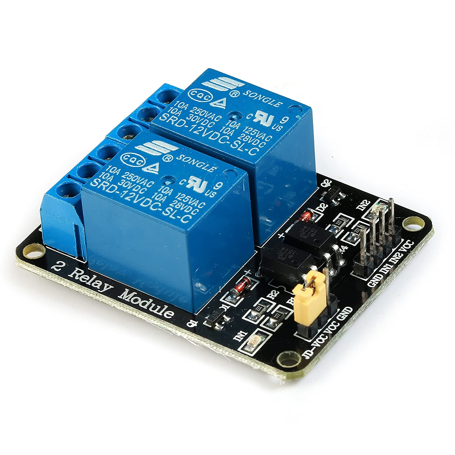 GEREE 12V 2-Channel Relay Module For Arduino ARM PIC AVR DSP SRD-12VDC-SL-C Relay Interface Board with Optocoupler