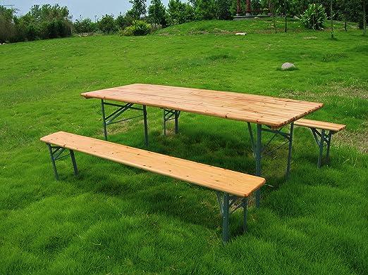 Tavoli E Panche Da Esterno.Garden Friend Set Birra Rettangolare 1 Tavolo E 2 Panche 80 X 200 Cm Legno Amazon It Giardino E Giardinaggio