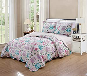 Elegant Home Cute Beautiful Girls Mutlicolor Pink White Blue Purple Floral Owl with Hearts Design 3 Piece Coverlet Bedspread Quilt for Kids Teens/Girls # Owl (Full/Queen Size)