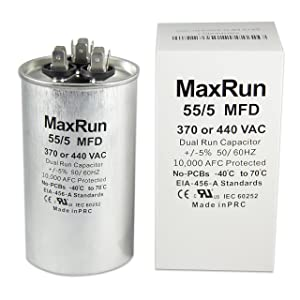 MAXRUN 55+5 MFD uf 370 or 440 Volt VAC Round Motor Dual Run Capacitor for AC Air Conditioner Condenser - 55/5 uf MFD 440V Straight Cool or Heat Pump - Will Run AC Motor and Fan - 1 Year Warranty