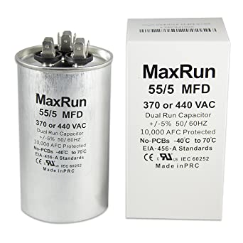 MAXRUN 55+5 MFD uf 370 or 440 Volt VAC Round Motor Dual Run Capacitor for  AC Air Conditioner Condenser - 55/5 uf MFD 440V Straight Cool or Heat Pump  -