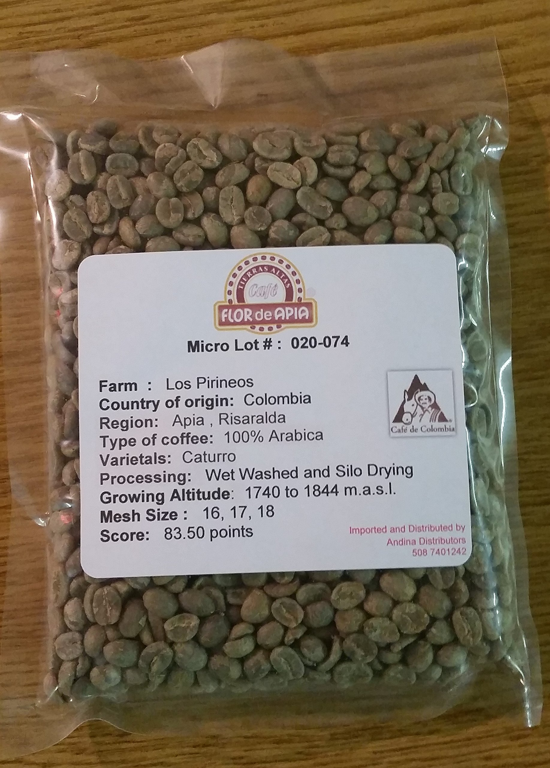 Unroasted Colombian Green Coffee Beans 5- Pounds Single Origin Farm Los Pirineos