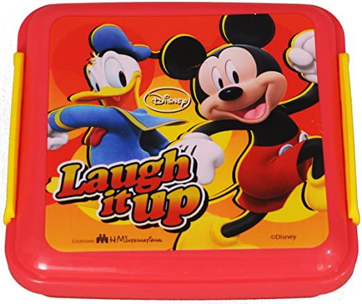 Disney Mickey Plastic Lunch Box, 330ml, Orange/Yellow