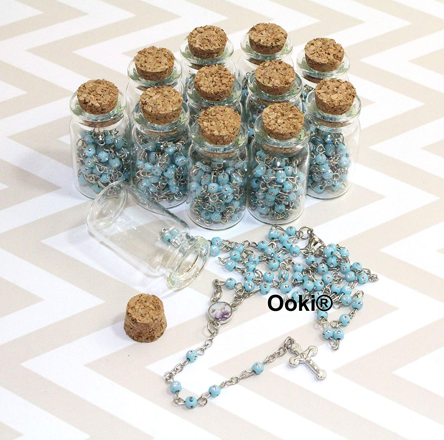 12 full size rosaries in cute glass jars for Baptism favors White and gold plated//recuerdos de bautizo//Rosario completo//communion favors