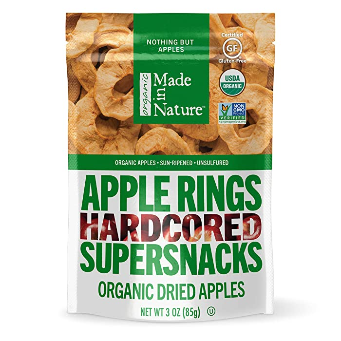 Made In Nature - Organic Apple Rings Dried Fruit, 3 Ounce (Pack of 6) - Non-GMO Vegan Dried Fruit Snack