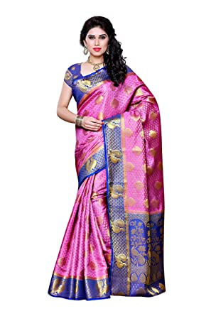 369ae72048eb81 Amazon.com: Mimosa Artificial Silk Saree Kanjivaram Style with Blouse Color: Pink (3301-200-PINK-RBLU): Clothing
