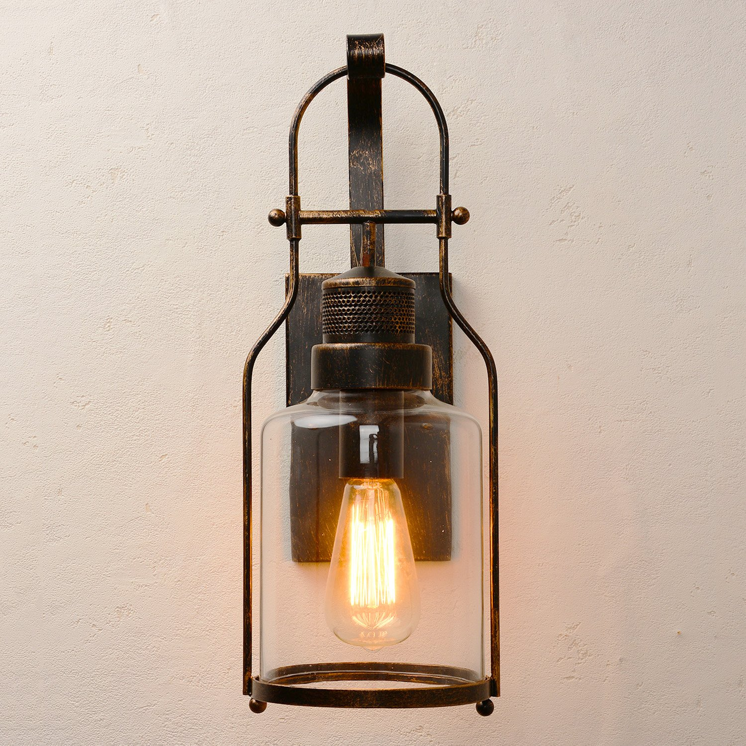 CEENWE Watson Retro Industrial Loft Lantern 1-Light Wall Sconce (Old Bronze)
