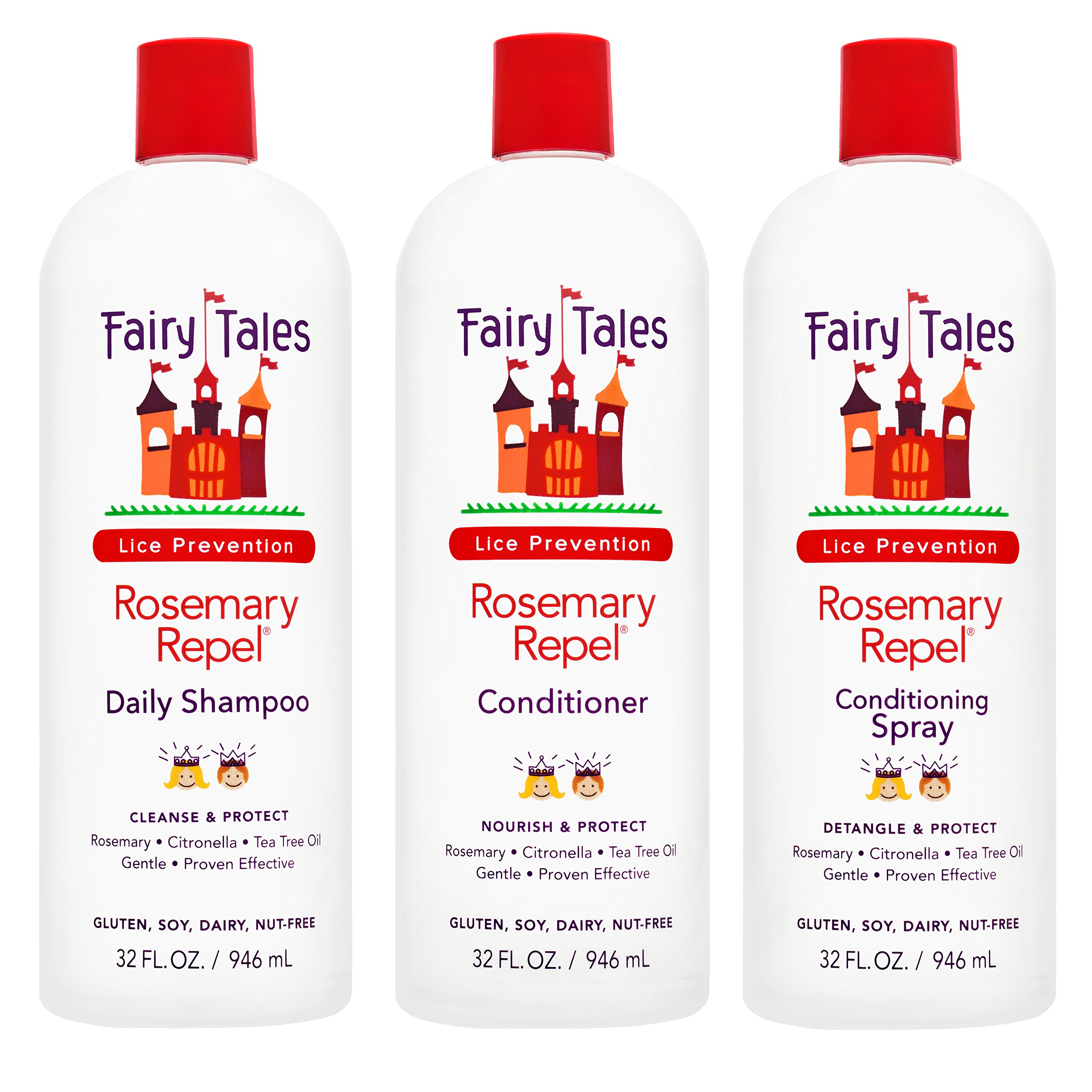 Fairy Tales Rosemary Repel Daily Kid Shampoo, Cream Conditioner & Conditioning Spray Refill Trio for Lice Prevention - Combo Pack by Fairy Tales