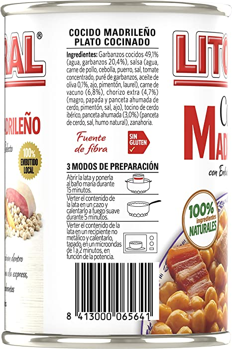 LITORAL Cocido Madrileño - Plato Preparado Sin Gluten - Pack de 6x440g - Total: 2.64kg