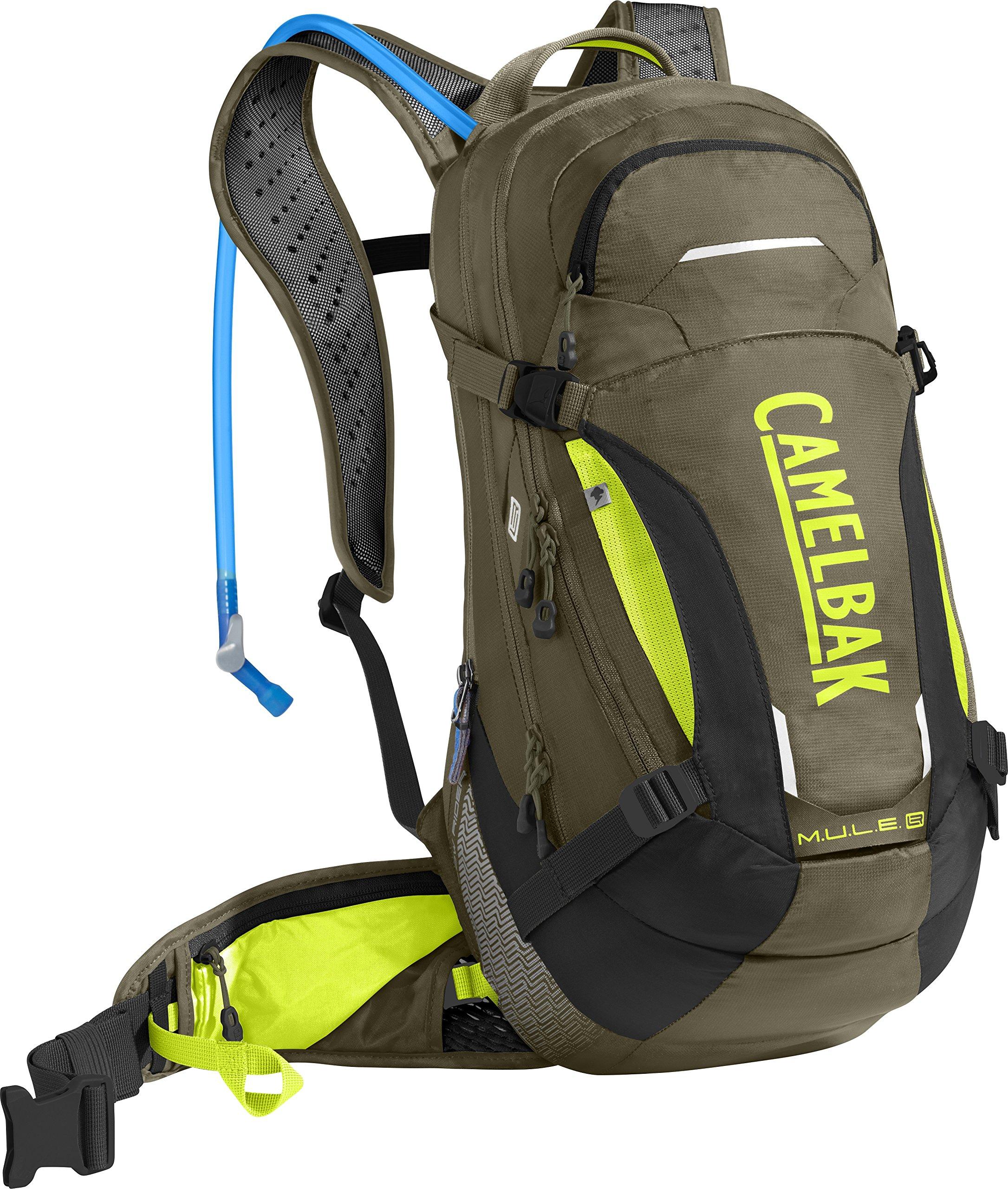 CamelBak M.U.L.E. LR 15 100 oz Hydration Pack, Burnt Olive/Lime Punch