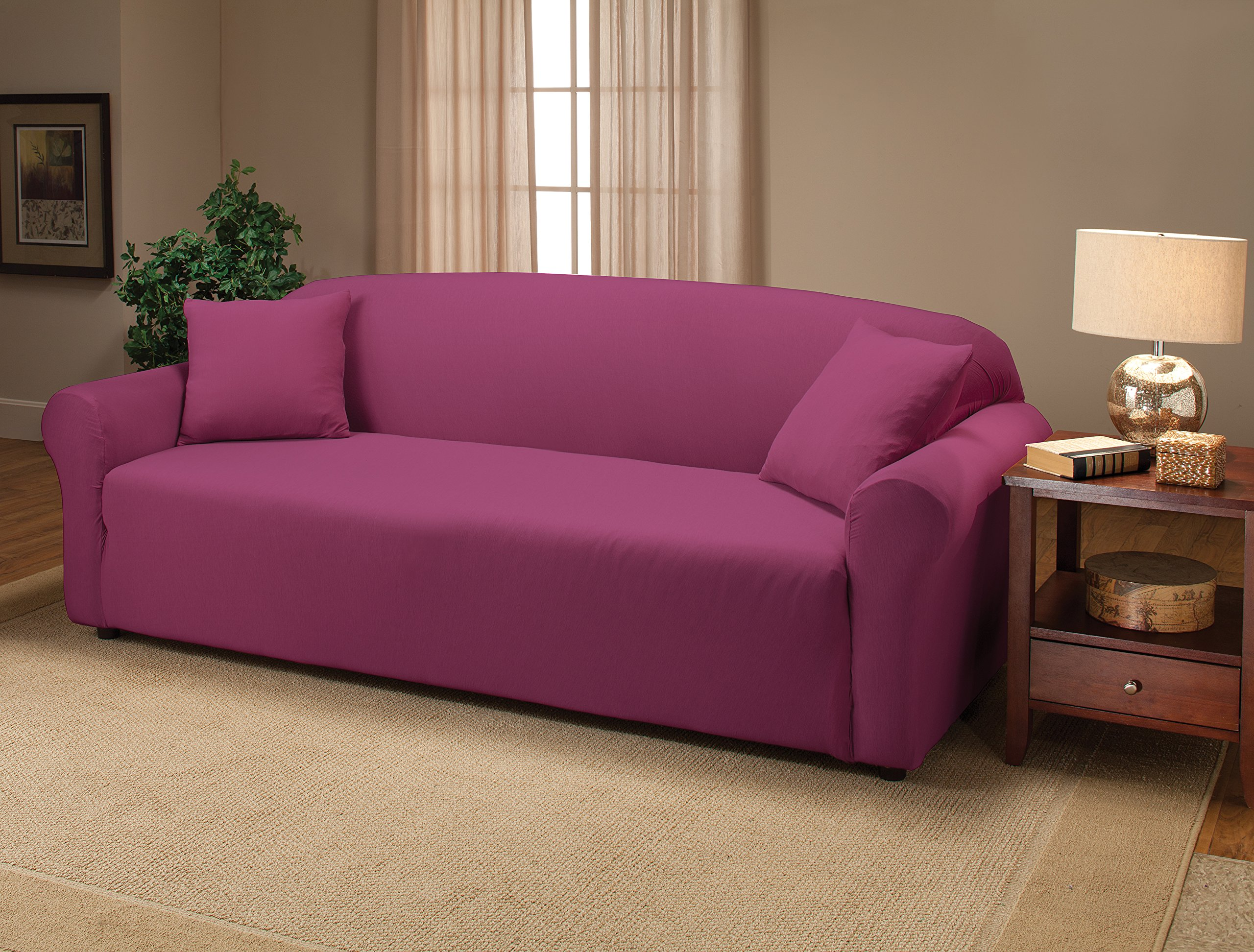 Madison Stretch Jersey Purple Sofa Slipcover Solid