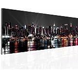 Bilder 110 x 40 cm !!! SENSATIONSPREIS !!! 100 % MADE IN GERMANY !!! Bilder New York Wandbild Vlies Kunstdruck Kunstdrucke NY Skyline Panoramabild !!! 601911a