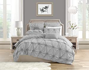 Swift Home Premium Romantic Bedding Set Collection 2-Piece Ruched Pinch Pleat Rosette Floral Pintuck Duvet Cover & Sham Set - Twin/Twin XL, Light Grey