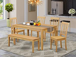 East West Furniture Kitchen Nook Table Set 6 Pc - Wooden Dining Room Chairs Seat - Oak Finish Rectangular Kitchen Table and Bench
