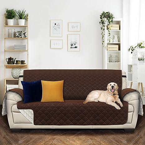 Utopia Bedding Funda de sofá con Correas elásticas Ajustables - Microfibra con Tratamiento hidrófugo(3 plazas 190cmx167cm, Marrón/Beige) [NO Apto para ...