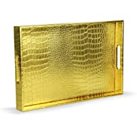 """Home Redefined Beautiful Modern Elegant Gold 18""""x12"""" Rectangle Glossy Alligator Decorative Ottoman Coffee Table Perfume…"""