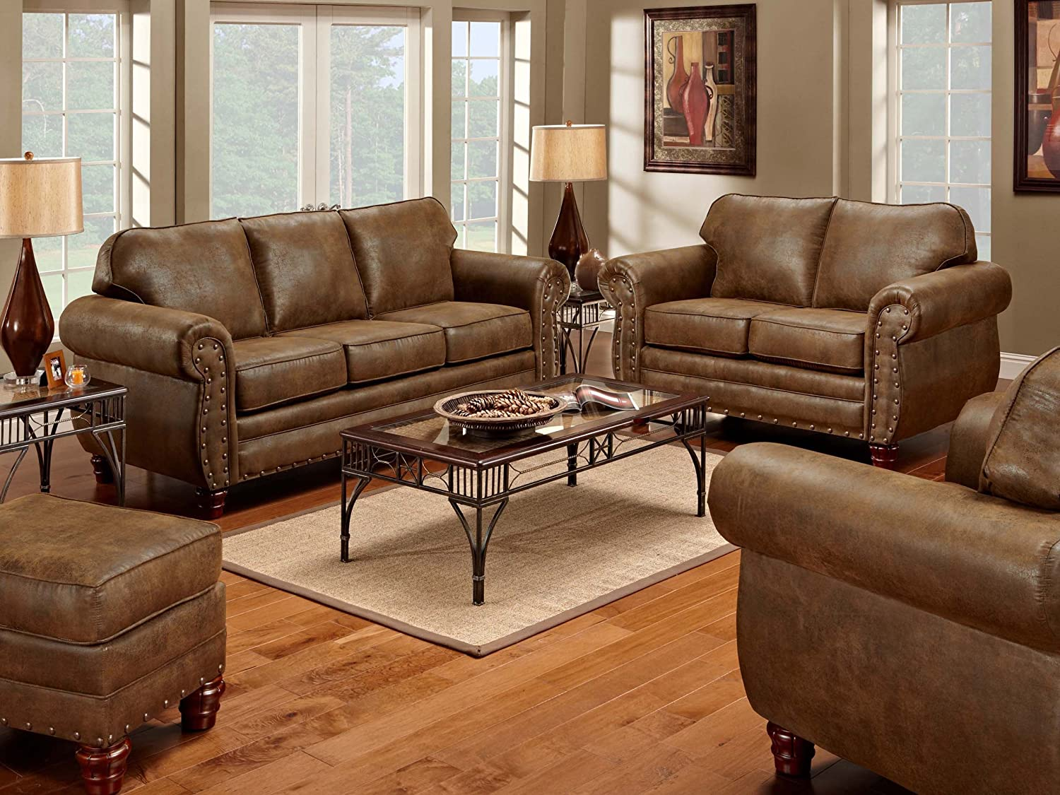 Amazon.com: American Furniture Classics 4 Piece Sedona Set With  Sofa/Loveseat/Chair/Ottoman: Kitchen U0026 Dining
