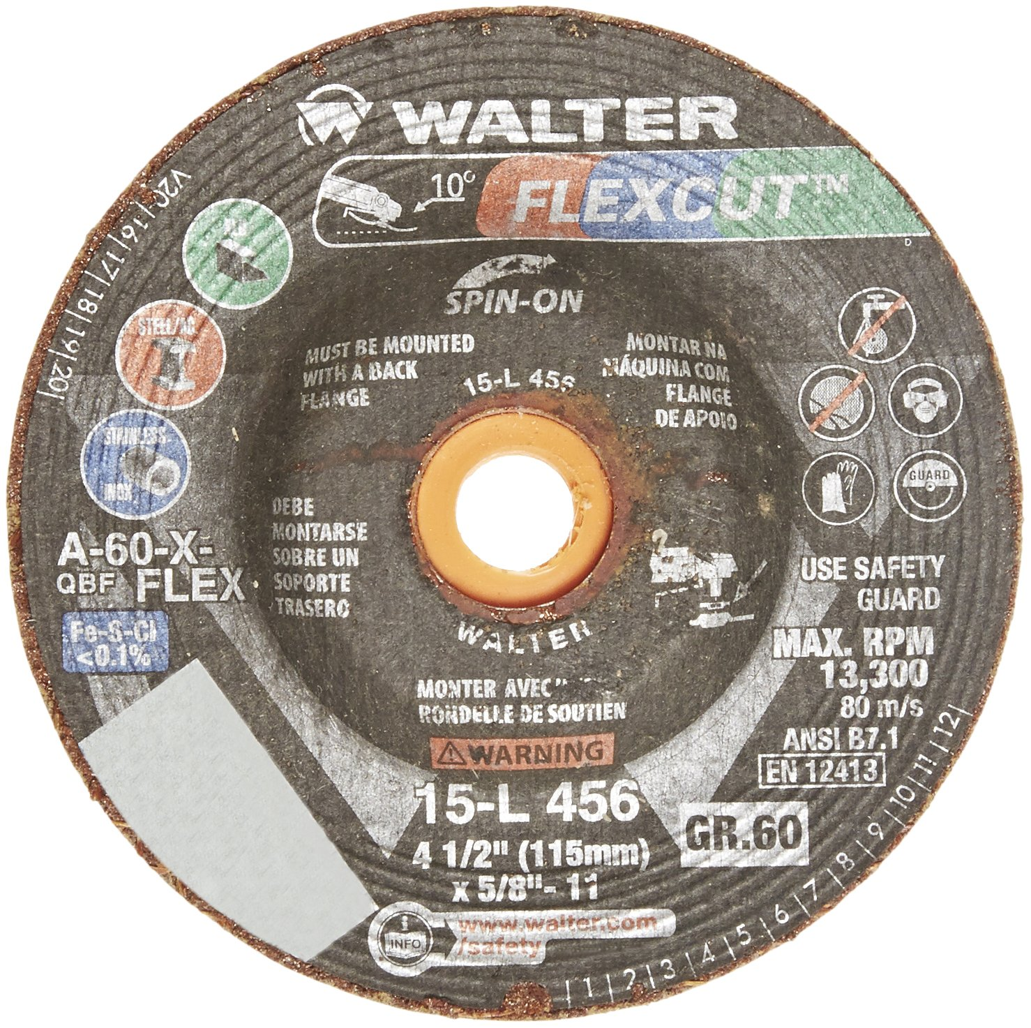 Walter 15L456 FLEXCUT Flexible Grinding Wheel [Pack of 25] - A-60-X-FLEXGrit, 4-1/2 in. Abrasive Wheel with Arbor Hole Fastening. Angle Grinding Wheels by Walter Surface Technologies (Image #2)