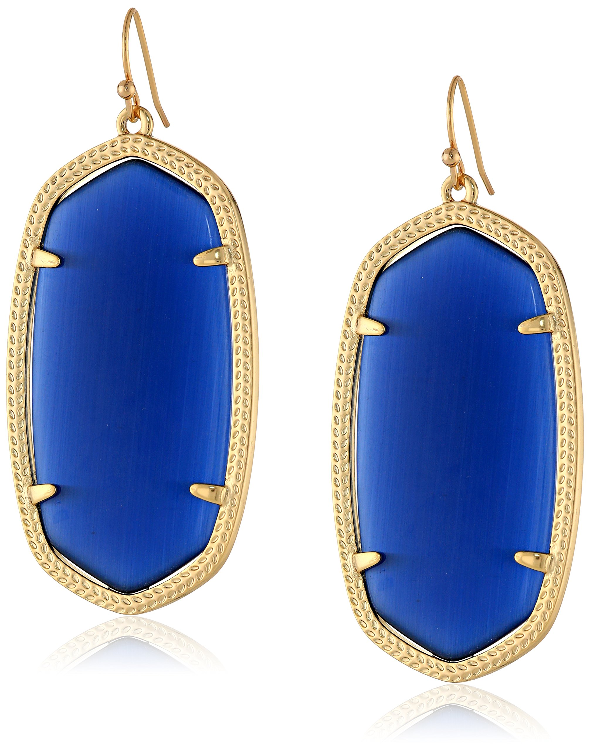Kendra Scott ''Signature'' Danielle Gold plated Navy Glass Drop Earrings