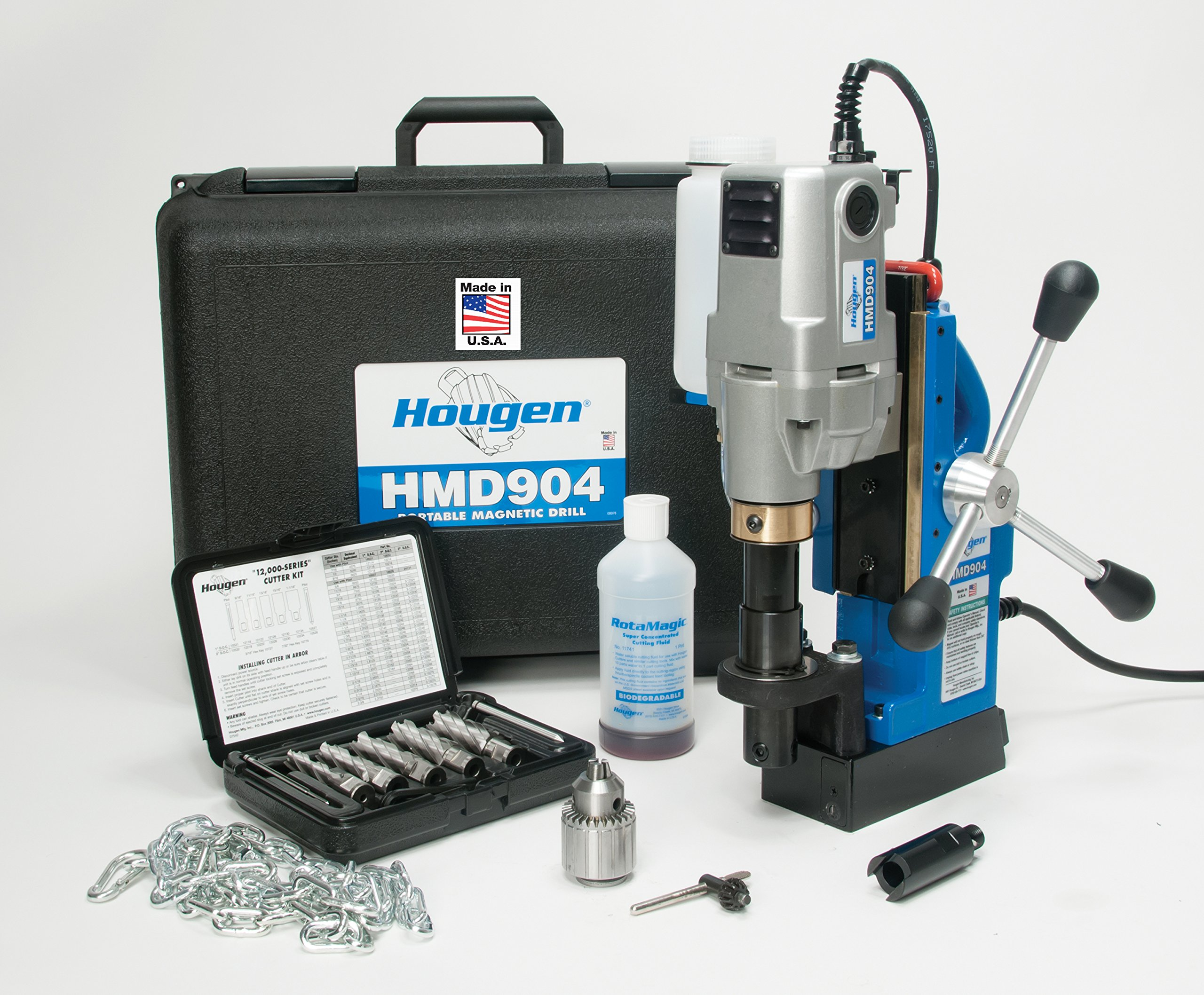 Hougen HMD904 115-Volt Magnetic Drill w/coolant bottle plus 1/2'' drill chuck, adapter and 12002 rotabroach cutter kit