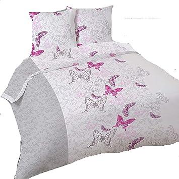 38c0deca161 LINGE USINE Housse de Couette Anais Papillons 260 x 240 +2 Taies Flanelle  Coton.