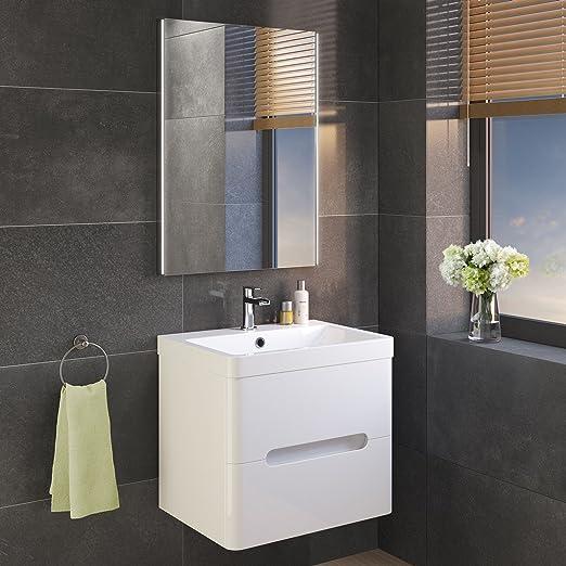 Design Moderno Sensore Luce Antiappannamento soak Specchio per Bagno con Illuminazione a LED 600 x 800 mm
