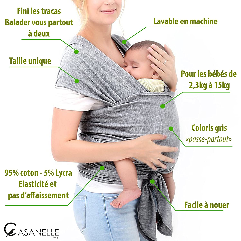 Echarpe de portage bebe   porte bebe gris léger ☆Offert livre ebook tutos    5 techniques de portages☆ Gardez les mains libres et votre nourrisson  contre ... befaeba60a1