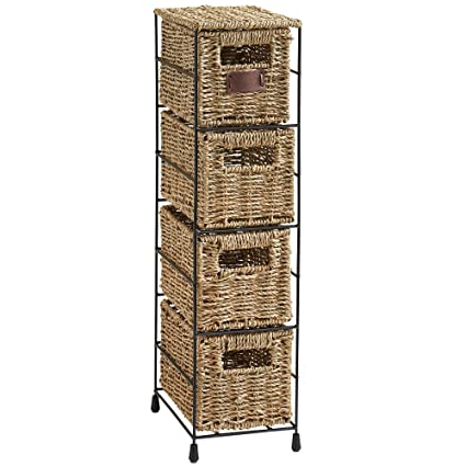 Ordinaire VonHaus 4 Tier Small Seagrass Basket Storage Tower Unit With Metal Frame    Ideal For Small