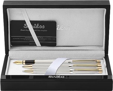 Scrikss Elegance Venus 722 - Set de escritura (pluma, bolígrafo y portaminas, cromado), color dorado: Amazon.es: Oficina y papelería