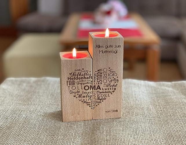 Personalisierter Kerzenhalter aus Holz, Graviertes Herz