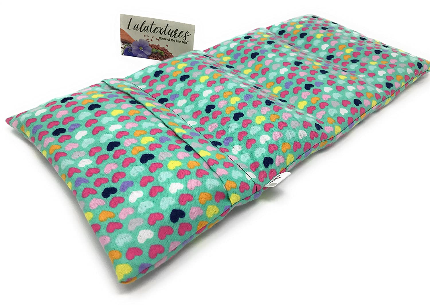 Large Unscented Microwavable Heating Pad by Flax Sak. Hot/Cold Pack with Removable/Washable Cover. Teal with Hearts.