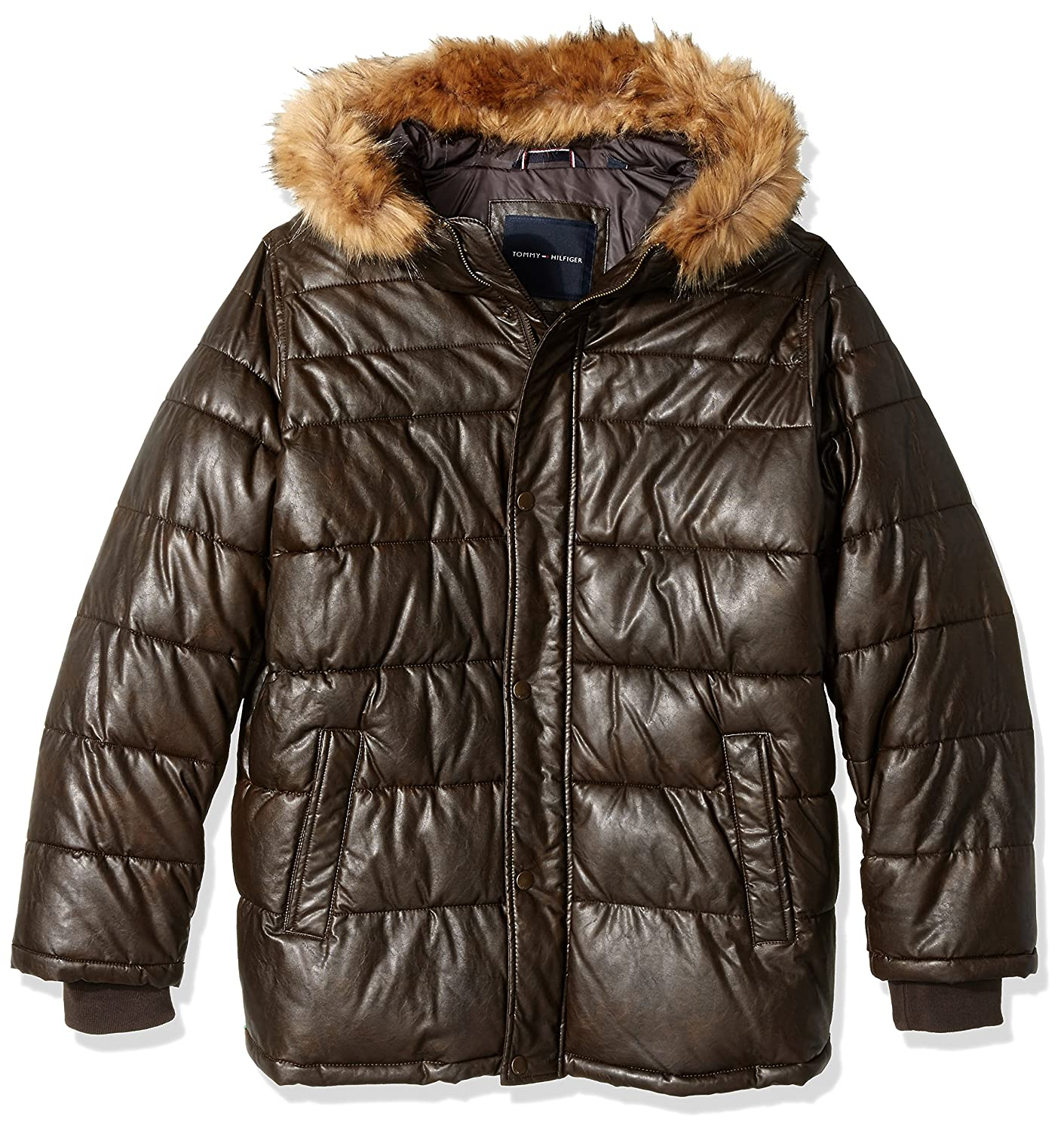 Tommy Hilfiger Men's Big Quilted Faux Leather Parka with Removable Faux Fur Trimmed Hood, Saddle, 2X ATHLETI 155XU272
