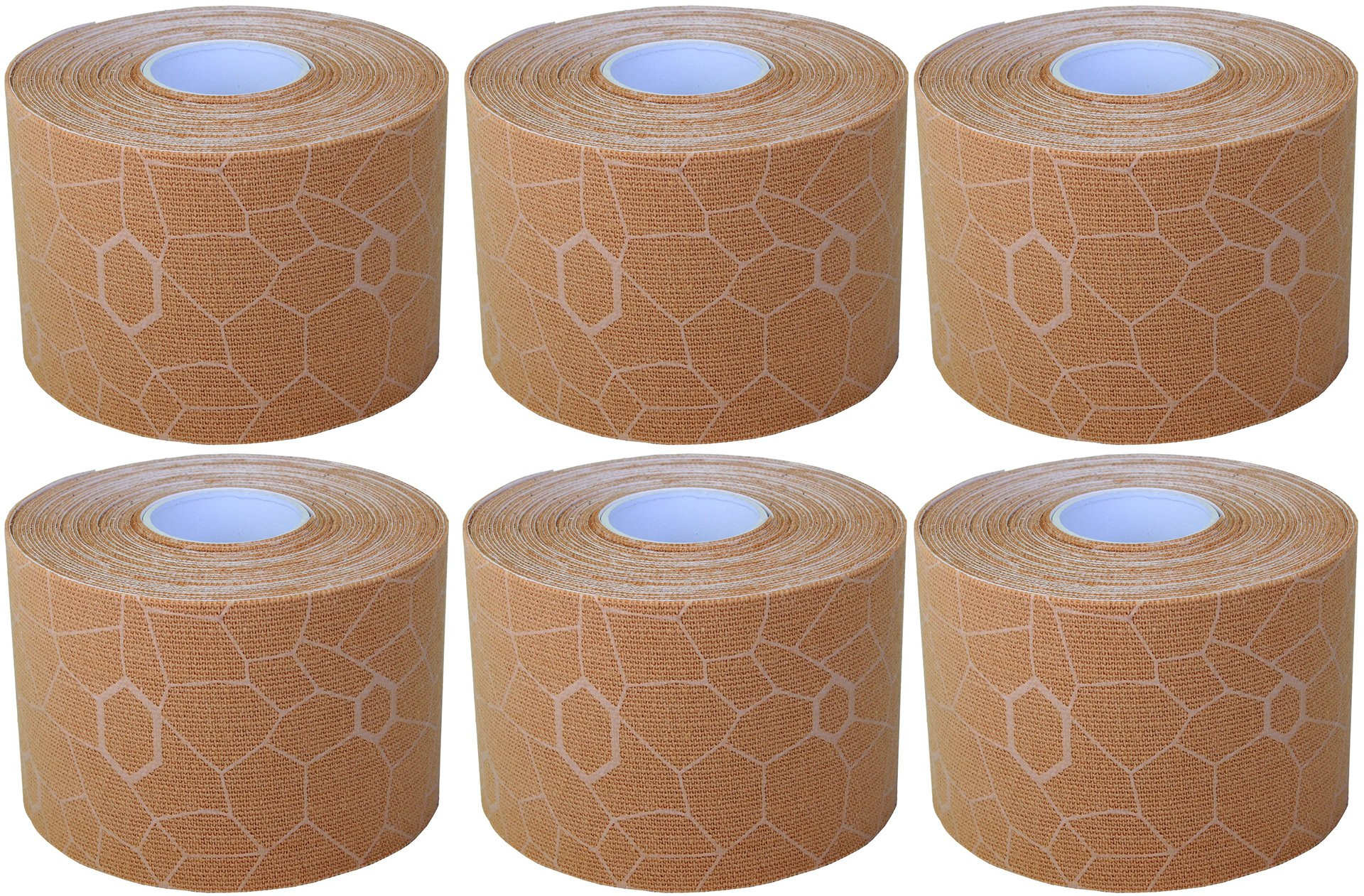 TheraBand Kinesiology Tape, Waterproof Physio Tape for Pain Relief, Muscle & Joint Support, Standard Roll with XactStretch Application Indicators, 2'' X 16.4'' Roll, 6 Pack, Beige/Beige