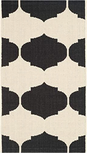 Safavieh Courtyard Collection CY6162-256 Beige and Black Indoor Outdoor Area Rug 2 x 3 7