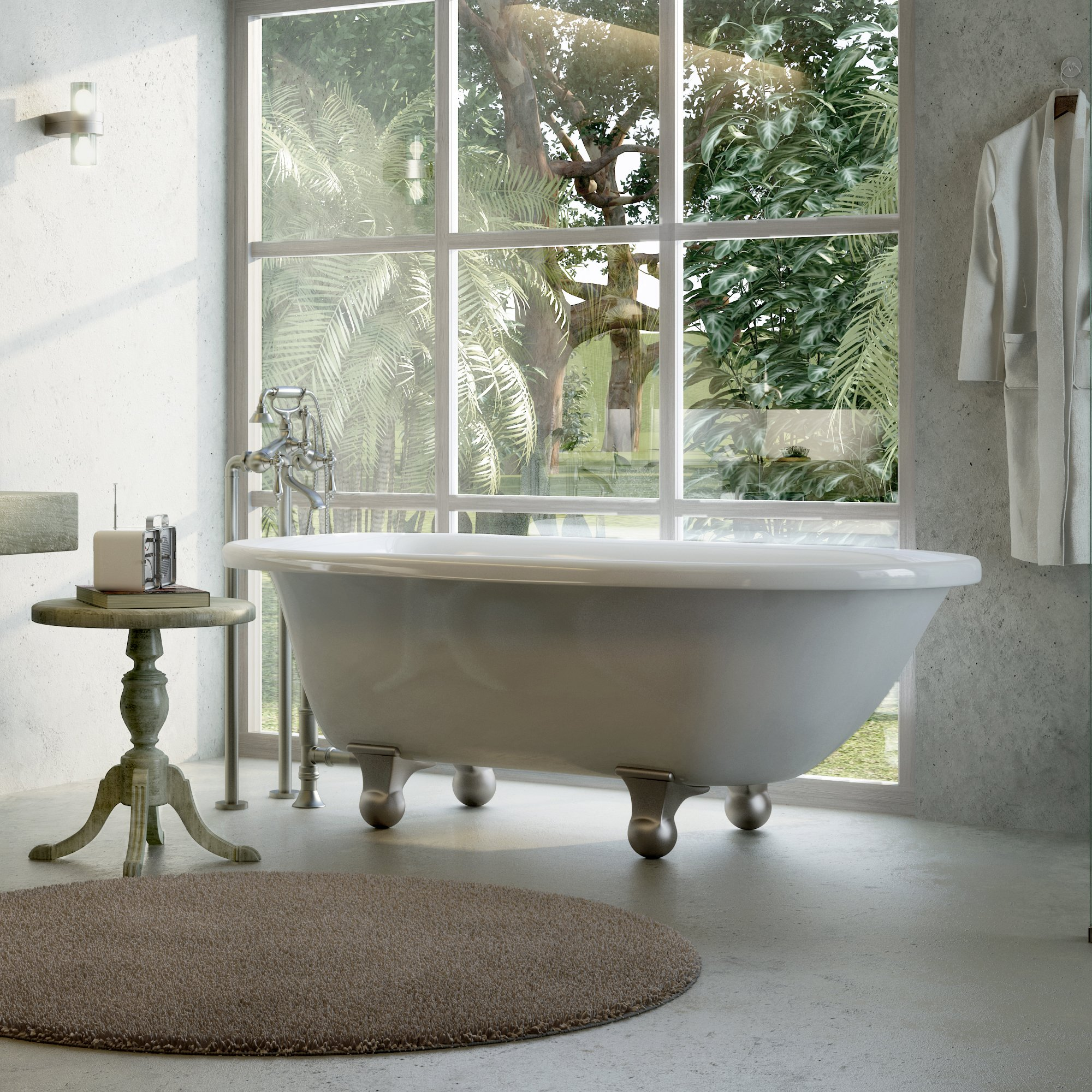 Luxury 60 inch Modern Clawfoot Tub in White with Stand-Alone Freestanding Tub Design, Includes Modern Brushed Nickel Cannonball Feet and Drain, From The Laughlin Collection