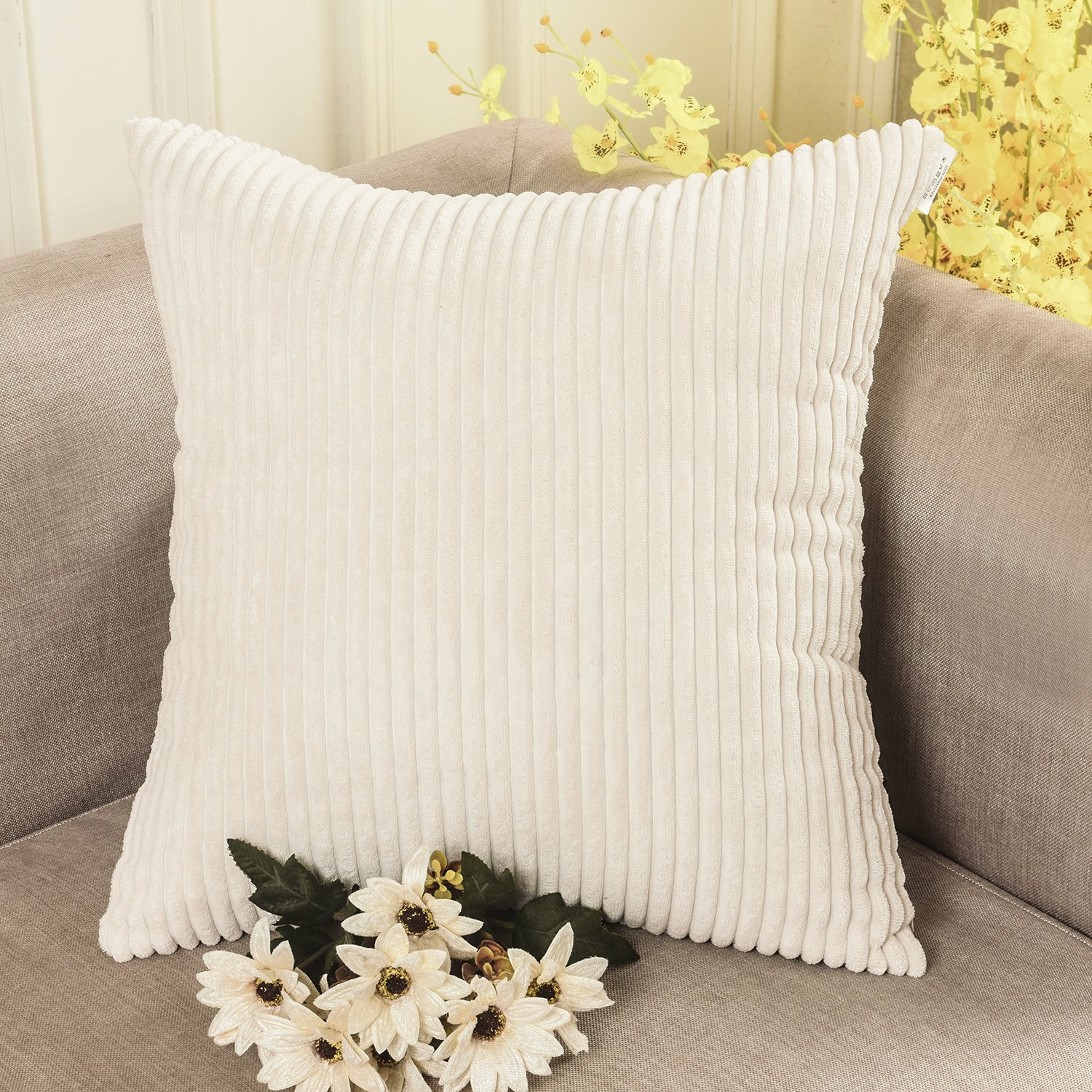 HOME BRILLIANT Winter Striped Velvet Corduroy Euro Throw Pillow Sham Large Cushion Cover for Chair, 24 x 24 inch (60cm), Cream Cheese