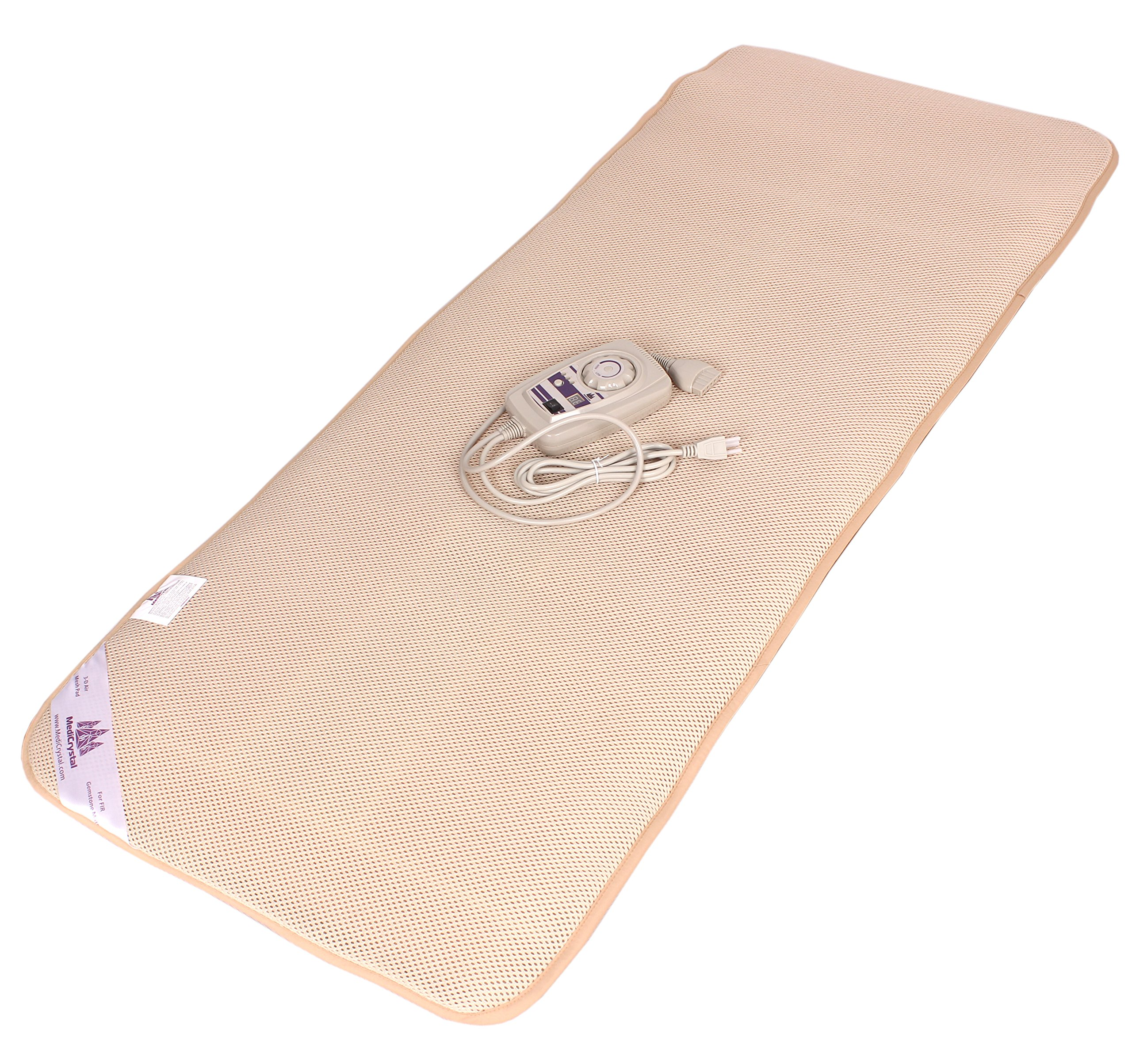 Far Infrared Amethyst Mat Midsize (59''L x 24''W) - Negative Ion - FIR Therapy - Natural Amethyst - FDA Registered Manufacturer - Adjustable Temperature Setting - Hot Crystal Heating Pad - Reddish Brown by MediCrystal (Image #6)