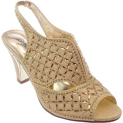 kinmi37 Womens Evening Sandal Rhinestone Dress-Shoes | Heeled Sandals