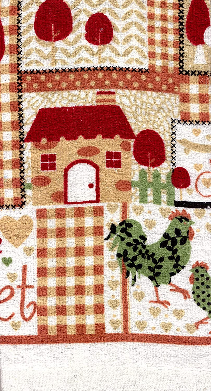 1 2 Pot Holders Home Sweet Home And Rooster 5 Piece Kitchen Linen Bundle Package Oven Mitt 2 Kitchen Towels
