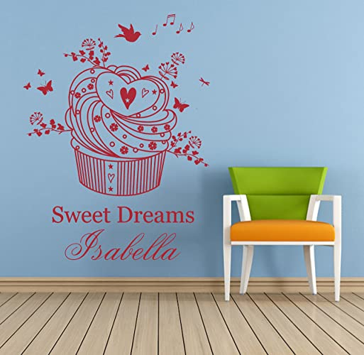Personalised name cupcake sweet dreams vinyl wall art sticker mural decal