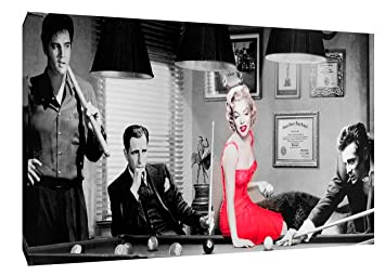 Elvis Presley Marilyn Monroe James Dean Snooker On Framed Canvas