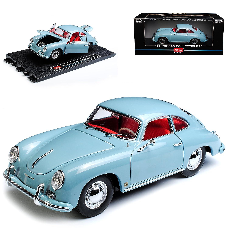Sun Star Porsche 356A 1500 GS Carrera GT Coupe Grau Blau 1955-1959 1/18 Modell Auto