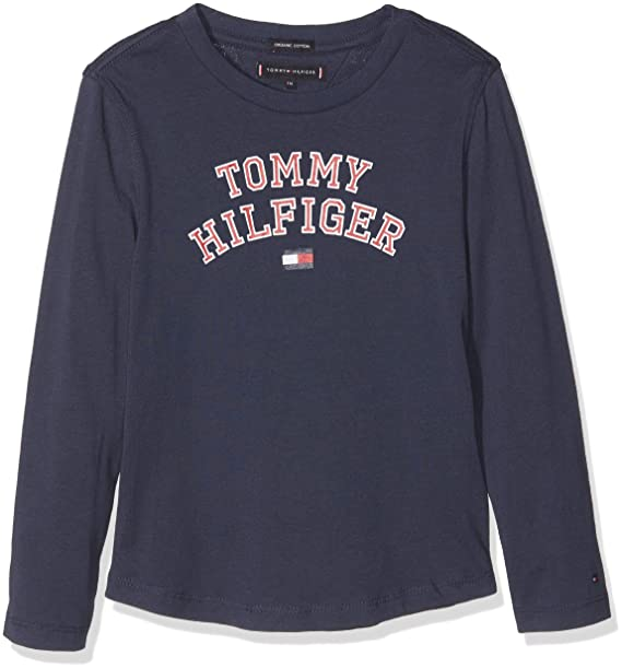 94732dfcd4306 Tommy Hilfiger Boy s Essential Hilfiger Tee L s Long Sleeve Top   Amazon.co.uk  Clothing