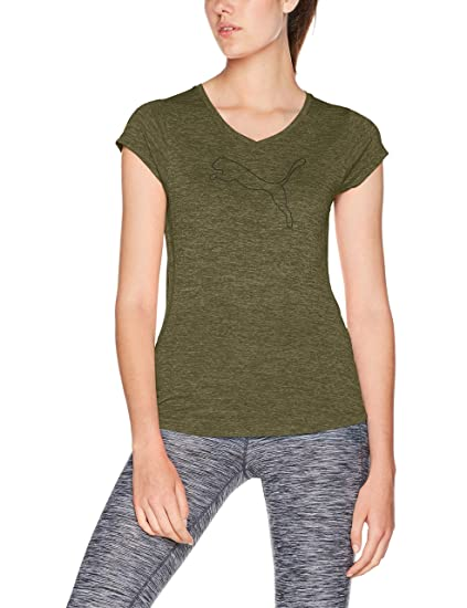 63fbf6125 Puma 51412122 Playera Heather Cat para Mujer, Olive Night Heather, Chico