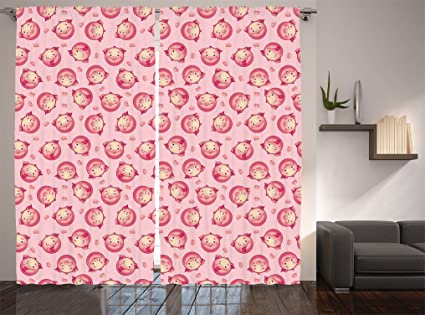 Amazon.com: Lunarable Pig Curtains, Cheerful Smiling Pigs Winking ...