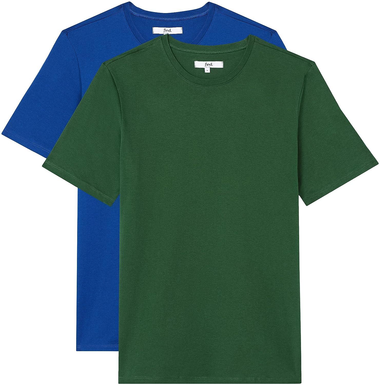 FIND T-Shirt Regular Fit Uomo, Pacco da 2