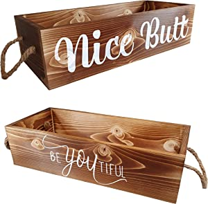 Wooden Bathroom Decor Box 2 Sides: Nice Butt, Funny Gift Toilet Tank Paper Holder Perfect for Home House Farmhouse Storage Rustic Diaper Organizer Art Wall Signs Counter Rectangle Basket Tray