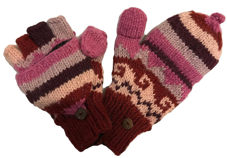 145 G Women's Hand Knit Wool Fleece Lined Folding Mitten Nepal